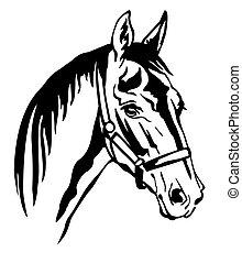 decorativo, 6, vector, caballo