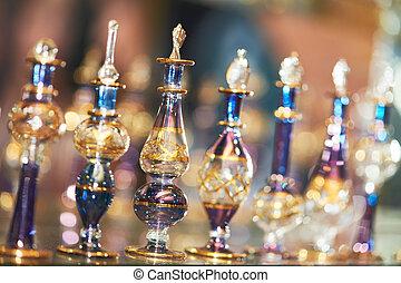decorativo, aceite, botellas, perfume, vidrio, o