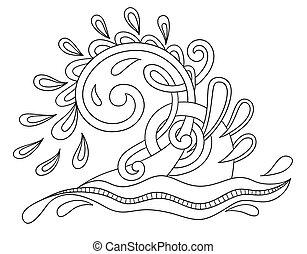 decorativo, acquatico, scintille, onda, nero, bianco, gocce