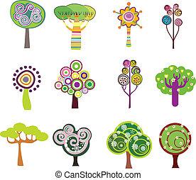 decorativo, albero, icone