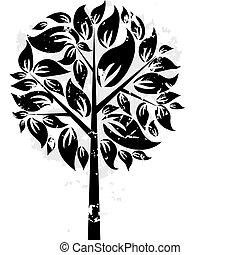 decorativo, albero, vettore, grunge