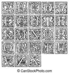 decorativo, alfabeto, antigas