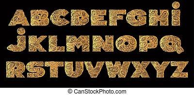 decorativo, alfabeto, com, um, paisley, zen, doodle, tatuagem, ornamentos, filling.