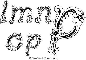 decorativo, alfabeto, elementos, letras, floral