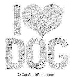 decorativo, amor, coloring., objeto, cão, vetorial, zentangle, palavra