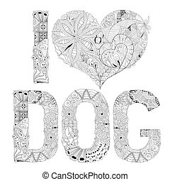 decorativo, amore, coloring., oggetto, cane, vettore, zentangle, parola