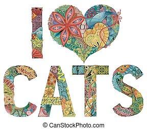 decorativo, amore, oggetto, cats., vettore, parole, zentangle