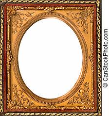 decorativo, anticaglia, oro, metallo, cornice
