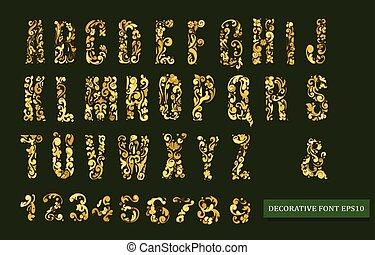 decorativo, antigüedad, dorado, vendimia,  vector, fuente, alfabeto,  floral