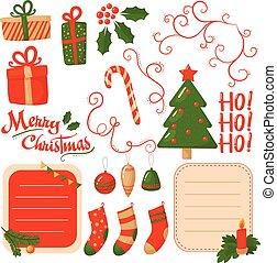 decorativo, apartamento, jogo, presente, postcard., cana, vetorial, text., vidro, caixas, árvore, elementos, lugar, doce, bolas, verde, feriado, adesivos, natal, ho-ho-ho!