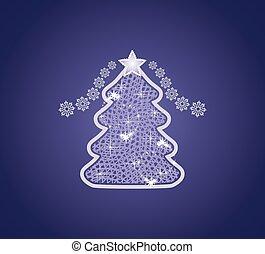 decorativo, azul, árvore, experiência escura, natal
