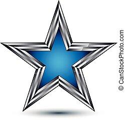 decorativo, azul, esboço, recompensa, estrela, 8, pentagonal, fascinante, símbolo, isolado, eps, stylized, experiência., vetorial, icon., conceitual, branca, insignia., prata, claro, 3d