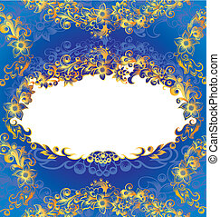 decorativo, azul, floral, marco