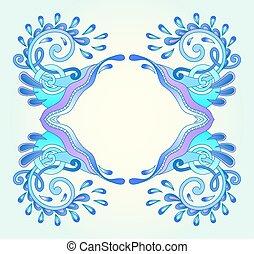 decorativo, azul, marco, acuático, onda