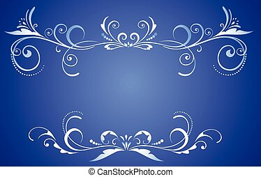 decorativo, azul, marco