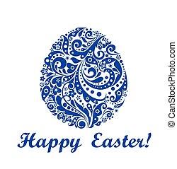 decorativo, azul, Páscoa, ovo