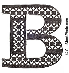 decorativo, b, metal, carta