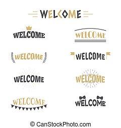 decorativo, badges., elementi, benvenuto, etichette, collezione, o, disegno, 9, emblemi, adesivi, tuo