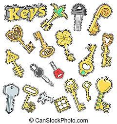 decorativo, badges., pezze, elementi, chiavi, scarabocchiare, vettore, album, adesivi