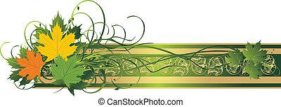 decorativo, bandeira, leaves., maple