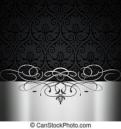 decorativo, blanco, fondo., negro