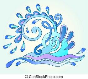 decorativo, blu, acquatico, gocce, scintille, onda, acqua, ...