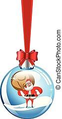 decorativo, bola, claus, neve, saco, isolado, santa, penduradas, natal