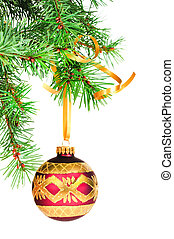 decorativo, bola natal, pendura, ligado, a, natal, árvore.