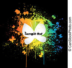 decorativo, borboleta, grunge, sobre, vetorial, pretas