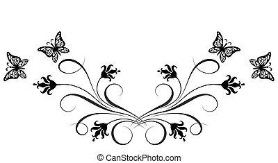 decorativo, borboleta, ornamento, floral, canto, flores