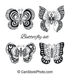 decorativo, borboletas, jogo, ícones