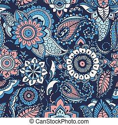 decorativo, buta, árabe, tela azul, turco, patrón, seamless, fondo., motivos, cachemira, elementos, telón de fondo., colorido, envoltura, ilustración, mehndi, impresión floral, papel pintado, papel, vector
