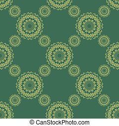 decorativo, buta, elementos, eps10, encaje, isolated., patrón, alheña, seamless, decoración, fondo., vector, verde, mehndi, artículos, floral, boda, mandala