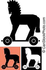 decorativo, caballo, trojan