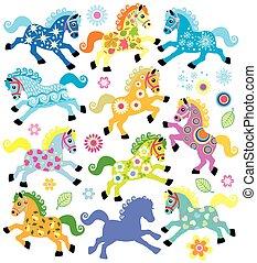 decorativo, caballos, conjunto