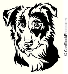 decorativo, cachorro collie, ilustração, vetorial, retrato, borda