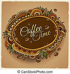 decorativo, caffè, etichetta, tempo, bordo, design.