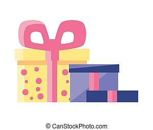 decorativo, caixas, fundo, branca, presente, fita