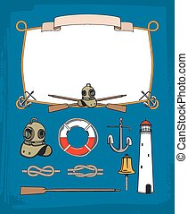 decorativo, campana, symbols., marco, vendimia, soga, equipo, retro, náutico, buceo, ancla, faro