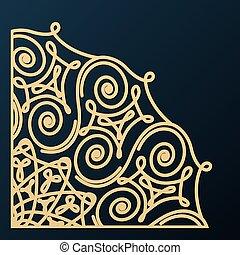 decorativo, canto, ornament., desenho, element., vetorial, illustration.