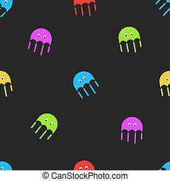 decorativo, carino, grafico, colorito, fabric., modello, infantile, casuale, seamless, elemento, scuro, fondo., stampa, disegno, mare, medusa, fauna, cartone animato, medusa