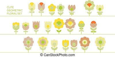 decorativo, carino, set, motivo, manifesto, estate, colorare, astratto, giallo, disegno, texture., design., web, stile, fiore, scheda, retro, stampa, geometrico, elementi, arancia, superficie, floreale