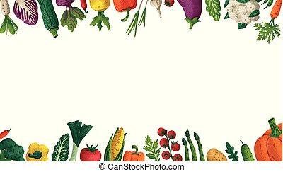 decorativo, cartel, design., variedad, vegetales, textura, ...