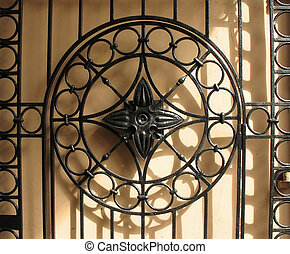 decorativo, cast-iron, plano de fondo, fence.