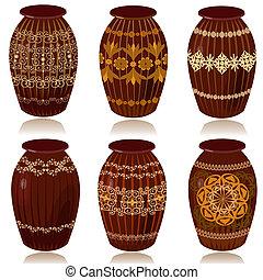 decorativo, ceramica, vasi