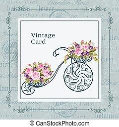 decorativo, cesta, flores, cheio, bicicleta