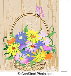 decorativo, cesta, flores