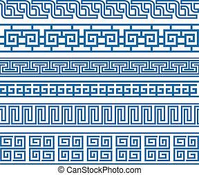 decorativo, clásico, frontera, elemento