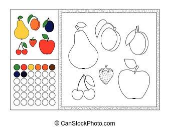 decorativo, colorare, cornice, fragola, contorno, sagoma, coloritura, mela, -, libro, nero, bianco, immagine, frutta, ciliegie, adulto, swatch, colorato, albicocca, prugna, pera, vettore, pagina