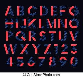 decorativo, colorido, alfabeto, vetorial, fonte, geomã©´ricas